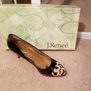 ShoesBlack/Leopard with trim in red